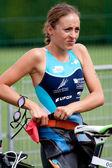 Woman competitor, triathlon. — Stock Photo