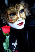 Masked lady with a rose — Stock Photo