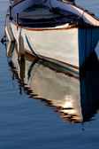 Morning light on a grey boat — Stock Photo