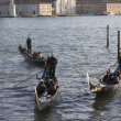 Three gondolas in the lagoon of Venice — Stock Photo #9867515