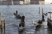 Three gondolas in the lagoon of Venice — Stock Photo