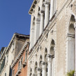 Facade of an old house with columns, Venice — Stock Photo