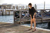 Female fashion model at Venice — Stock Photo