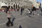 Two tourists are having fun with the pigeons . — Stock Photo