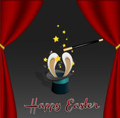 Easter Card | Rabbit comes out from a Magic Hat | Editable Vector Illustration — Stock Vector