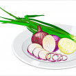 Onion on the plate — Stock Vector