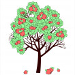 Vector drawing of apple tree with fruits — Stock Vector