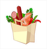 Paper bag with bread, sausage and greengrocery — Stock Vector
