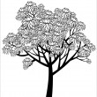 Stock Vector: Vector graphical drawing of young flowering tree