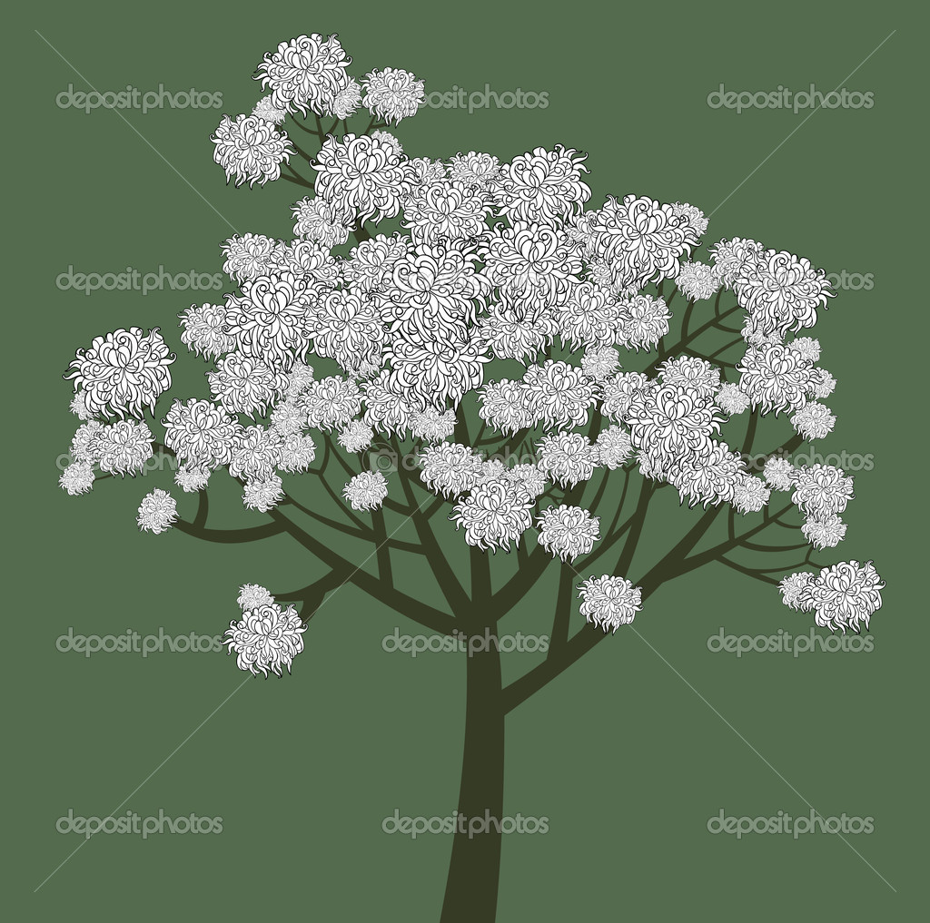 Vector graphical drawing of young flowering tree — Stock Vector #10345958