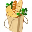 Stock Vector: Paper bag with bread, sausage and greengrocery