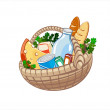 Wicker basket with dairy products, bake and other food — Stock Vector