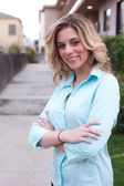 Attractive female real estate agent — Stock Photo