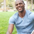 African American male student on campus - Stock Photo