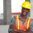 African American construction worker — Stock Photo