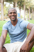African American male student on campus — Stock Photo