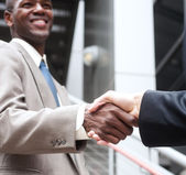 African American businessman shaking hands with caucasian busine — Stockfoto