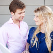 Portrait of a happy young professional couple using laptop — Foto de Stock