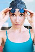 Athetlic female swimmer — Stock Photo