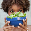 Pretty African American woman with salad, healthy lifestyle — Stock Photo