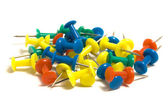 Heap of colored pushpins — Stock Photo