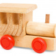 Wooden train toy with red wheels — Stock Photo