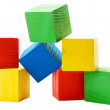 Heap of wooden colored cubes — Stock Photo