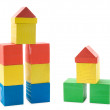 Buildings from wooden blocks — Photo
