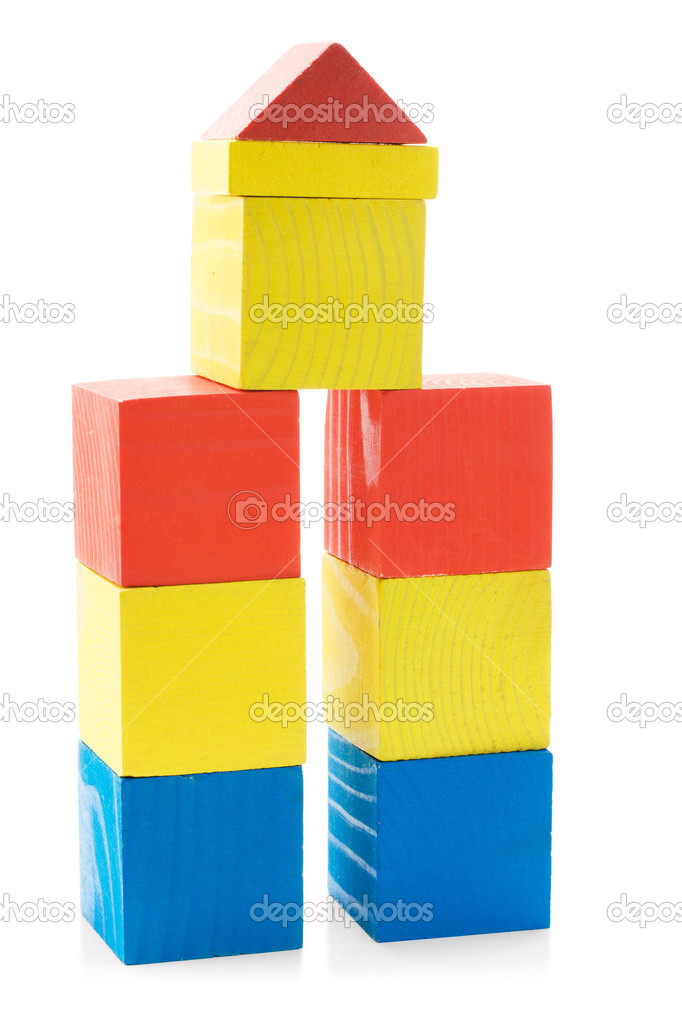 Building from wooden blocks toys isolated on white background — Stock Photo #9839243
