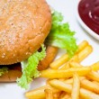 Burger with fat french fries and dressing - Stock Photo
