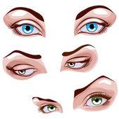 Set di occhi femminili — Vettoriale Stock