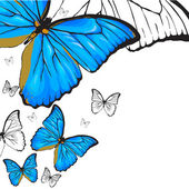 Blue butterflies background — Stock Vector