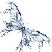 Mariposa de salpicaduras de agua — Vector de stock