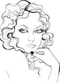 Retro style woman portrait — Stock Vector