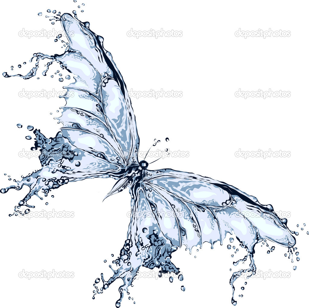 Water splash butterfly  Stock Vector #9754476