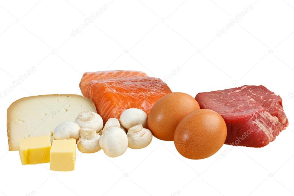 Food sources of vitamin D, including fish, meat, eggs, dairy and mushrooms — Stock Photo #9773516