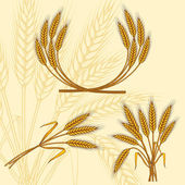 Background with ripe yellow wheat ears, vector illustration. — Stock Vector
