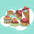 Vector frame with and sweet little cupcakes. — Stockvektor