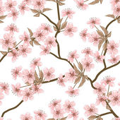 Cherry blossom vector background. (Seamless flowers pattern) — Stok Vektör
