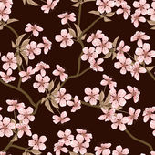 Cherry blossom vector background. (Seamless flowers pattern) — Vettoriale Stock