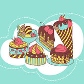 Vector frame with and sweet little cupcakes. — Stock Vector