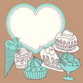 Vektor ram med och söta små cupcakes. — Stockvektor