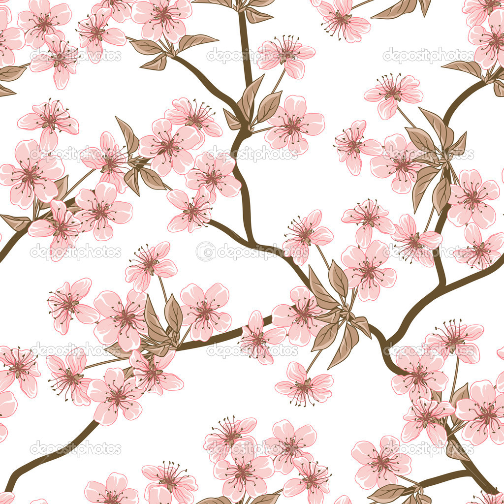 Cherry blossom vector background. (Seamless flowers ...