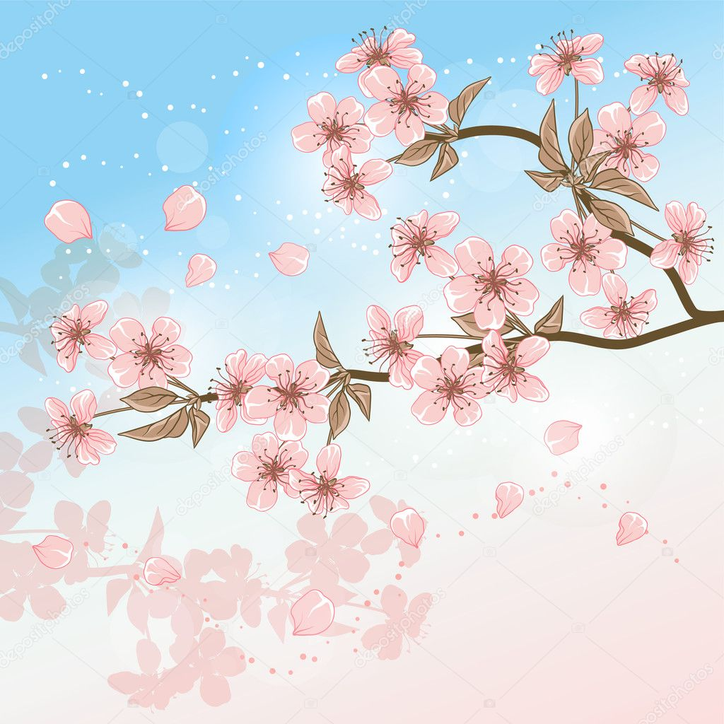 Cherry Tree (Card with stylized vector blossom)  Stock Vector #10303257