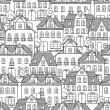 Seamless vector pattern with houses and trees. — Stock Vector