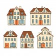 Old hand drawing houses isolated. Vector illustration. — Stock Vector