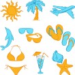 Travel set with many colourful tourism and vacation icons. — Stock Vector
