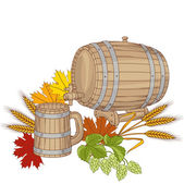 Vector illustration of a barrel, mug, wheat, hops. — Stock Vector