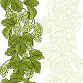 Hop Ornament On Green Grunge Background, Vector Illustration — Stock Vector