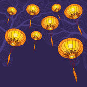 Fairy-lights. Big traditional chinese lanterns. Vector. — Stock Vector